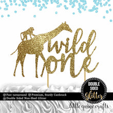 Load image into Gallery viewer, 1 pc wild one safari jungle giraffe monkey cake topper first birthday cake smash DOUBLE SIDED gold silver black glitter party decoration