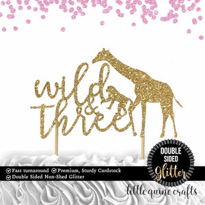 1 pc wild & three jungle safari animals cake topper 3rd third birthday toddler girl boy summer theme DOUBLE SIDED gold green silver glitter