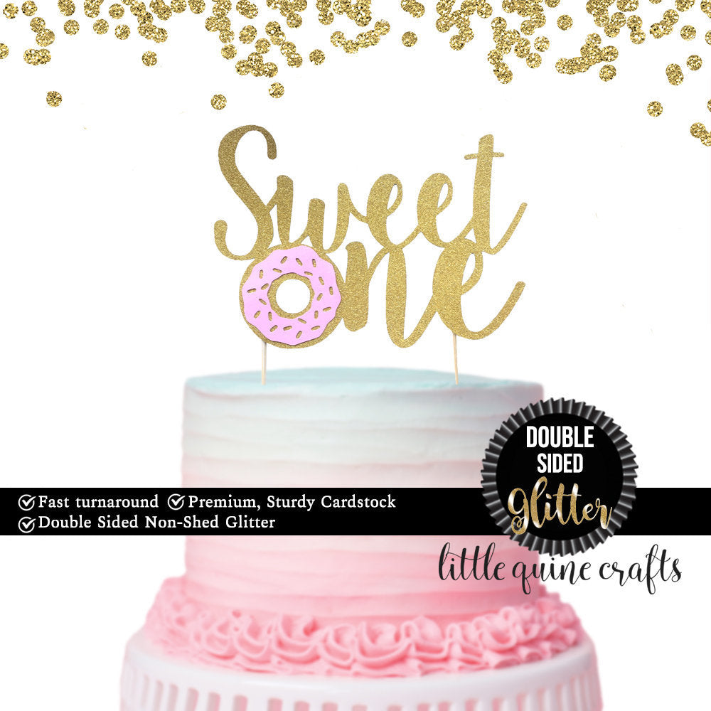 1 pc Sweet One Donut DOUBLE SIDED Gold Glitter Cake Topper for 1st first Birthday Baby Toddler girl boy summer Party donut grow up theme
