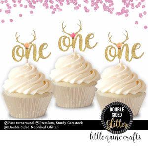 10 or 12 pcs one flower roses antler bohemian tribal DOUBLE SIDED Gold Glitter Cupcake dessert Topper first Birthday onedeerful wild one