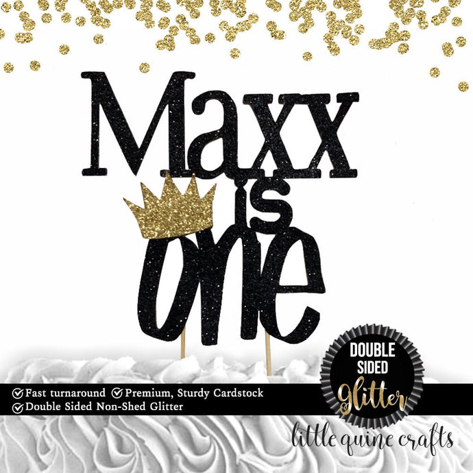 1 pc custom name personalize is one crown DOUBLE SIDED gold black glitter cake topper wild one where the wild things are boy 1st birthday