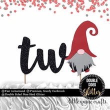 Load image into Gallery viewer, 1 pc two gnome cake topper second 2nd birthday cake smash black glitter winter wonderland whimsical christmas