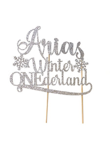 1 pc custom personalize ANY Name Winter Onederland Snowflakes DOUBLE SIDE silver gold glitter cake topper first birthday boy girl wonderland