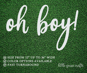 "1 pc oh boy! 12"" to 36"" WIDE Large Gold Glitter Chipboard Baby Shower baby Nursery Wall Decor Party Sign Photo Table Backdrop"