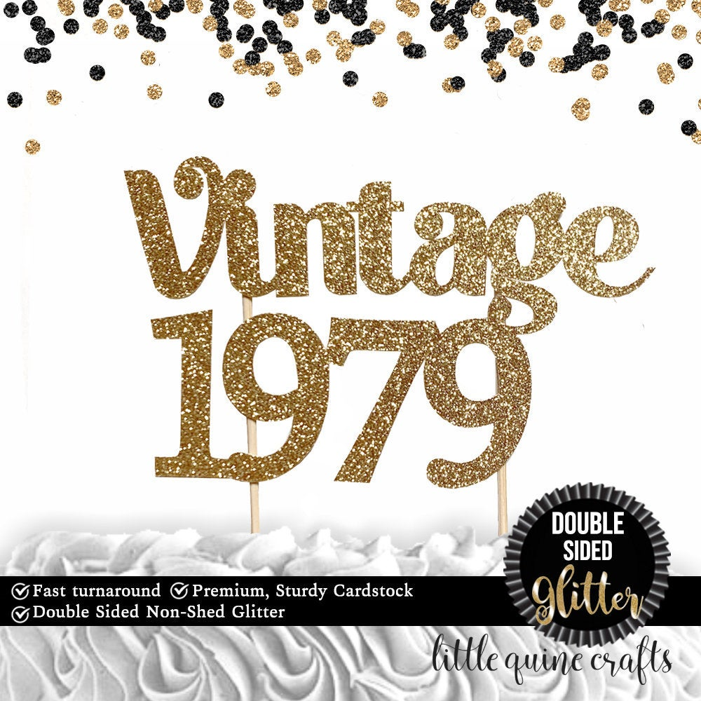 1 pc Vintage personalise custom ANY year 30 40 50 60 70th 80th 90th Birthday DOUBLE SIDED gold silver black glitter cake topper party decor