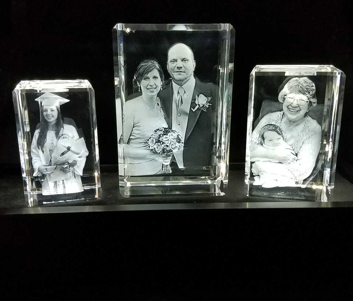 Personalized Etched Crystal Stadium Setting With Optional LIght Up Base