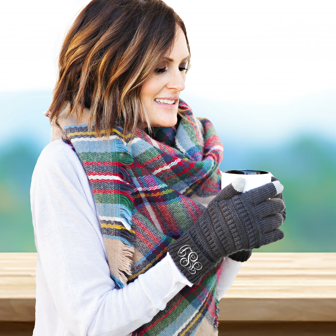 Personalized Monogram Touchscreen Gloves