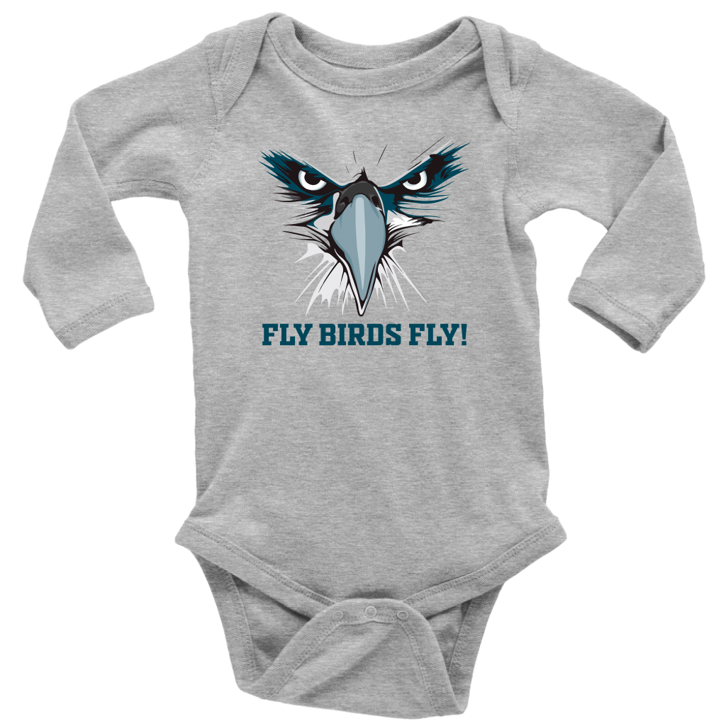 Fly Birds Fly Long Sleeve Baby Bodysuit Onesie