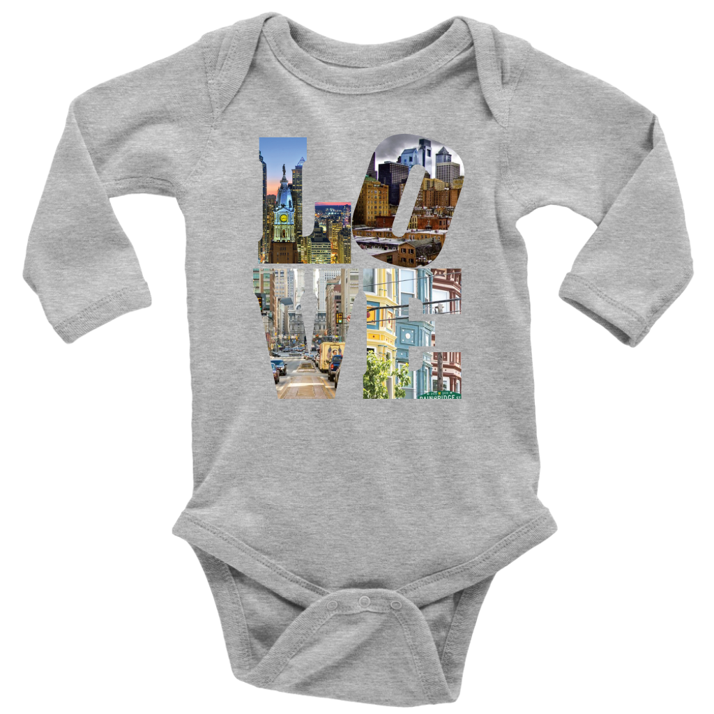 LOVE Philadelphia City Views Long Sleeve Bodysuit Onsie