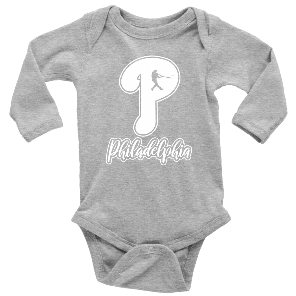 Philadelphia Baseball P Long Sleeve Baby Bodysuit Onesie