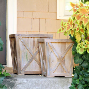 Reclaimed Wood Town & Country Planters, Set of 2 Planters SIXTY PARK LANE