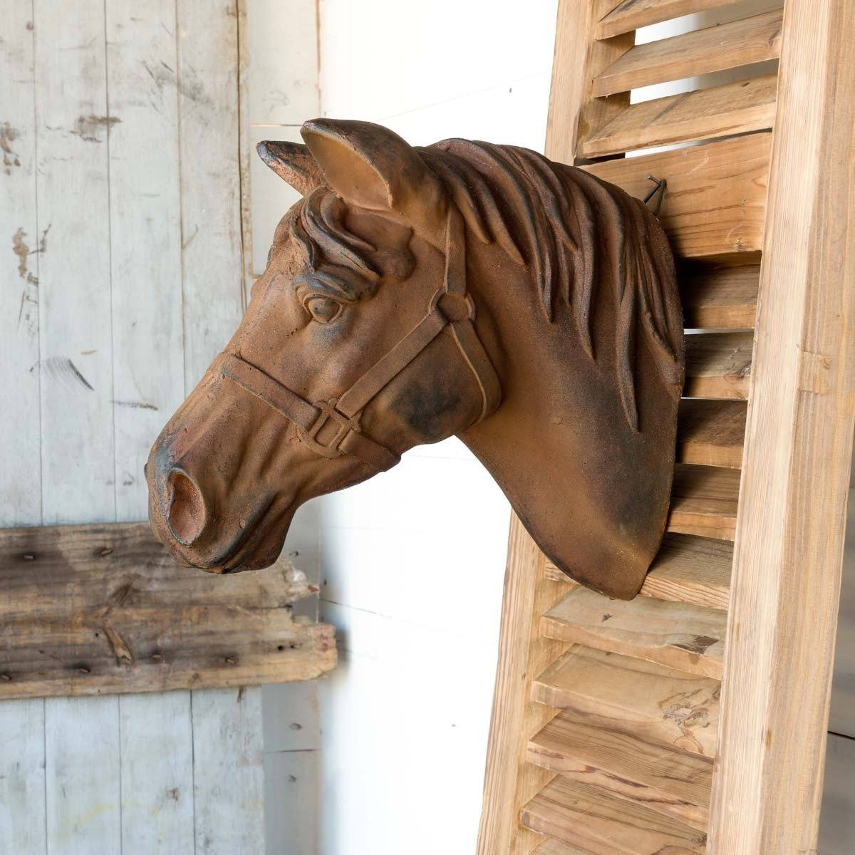 Estate Stone Wall Mount Horse Head Wall Decor PHC