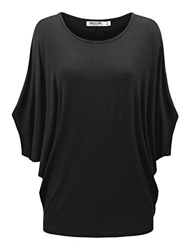 Lock and Love Women's SolidOmbre Scoop Neck Short Sleeve Loose Blouse Batwing Dolman Top Oversize