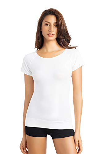 +MD Women's Bamboo Seamless T-Shirt Scoop Neck Short Sleeve Comfort Light Control Shapewear Undershirt Pyjamas