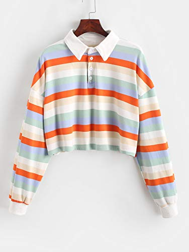 ZAFUL Women's Crop Tops Casual Long Sleeve Striped Half Button Collared Blouse Polo T Shirts Pullover