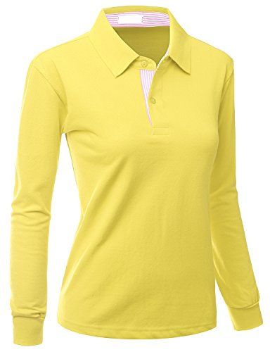 Xpril Women's Casual Basic Sporty Long Sleeve Polo Collar T-Shirt