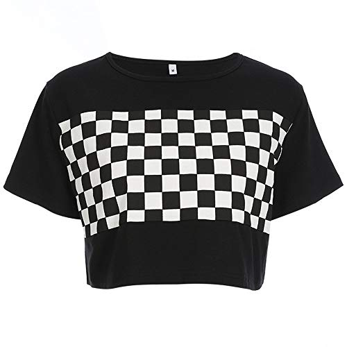 Women Checkerboard Print Loose Black and White Plaid T-Shirt Streetwear Crop Top