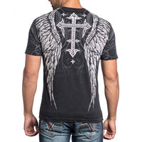 Affliction Men Shirt American Customs Skull Wing Short SLVS Crew Neck in Black wash