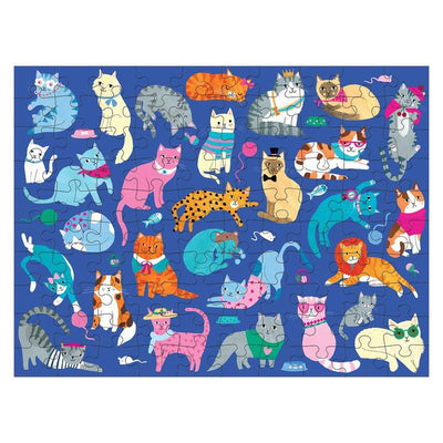 Puzzle 100pcs doble, perros y gatos