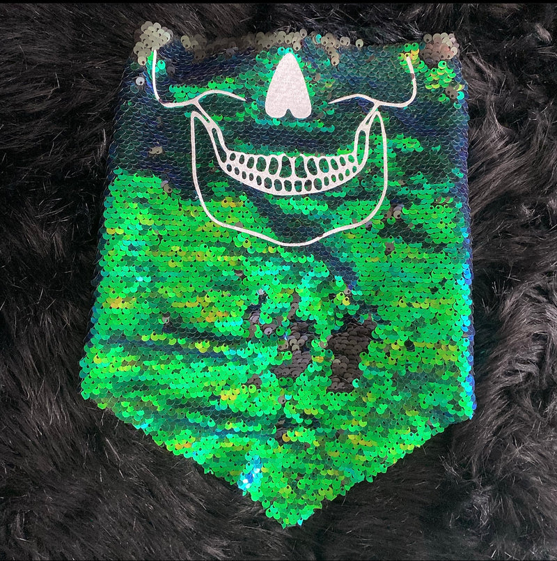 Green & Black Sequin Skull Bandanna - The Carly Morgan