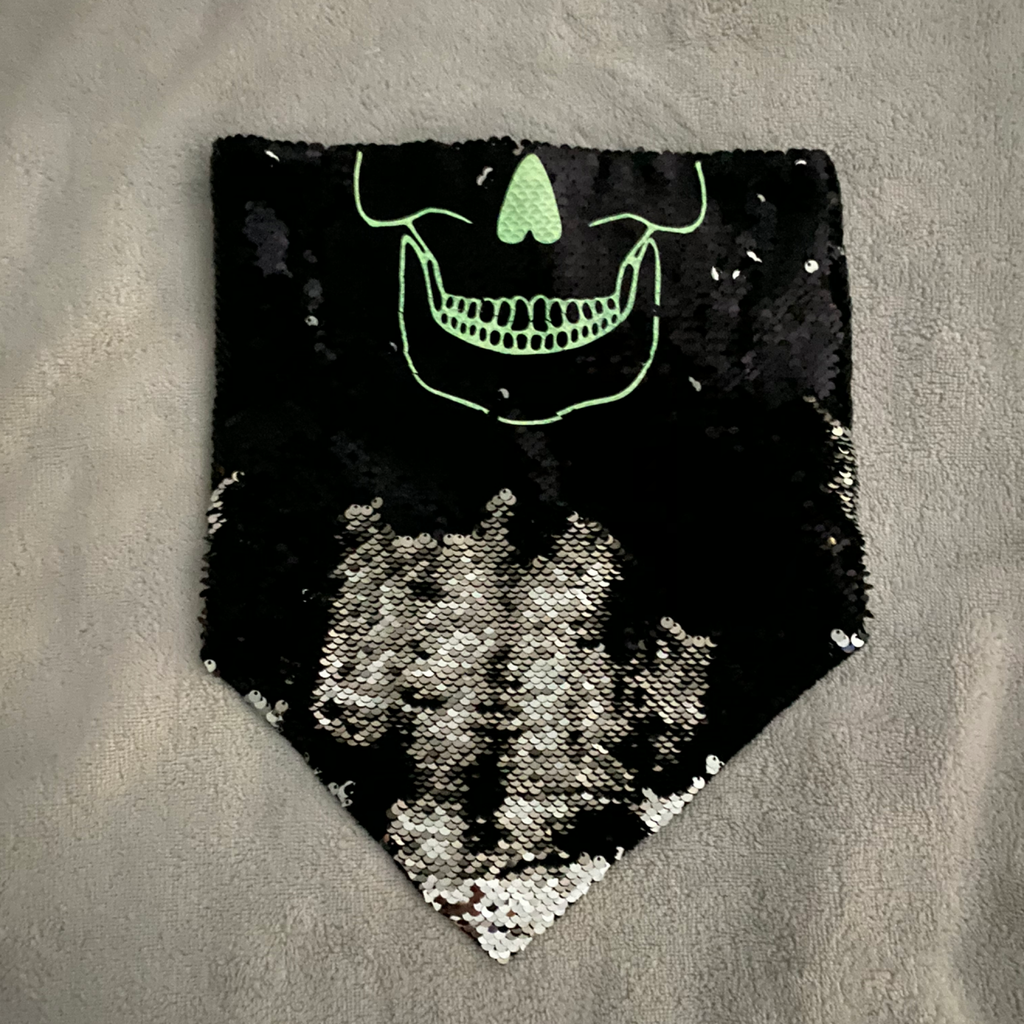 Black and Silver Sequin Skull Bandanna - The Carly Morgan