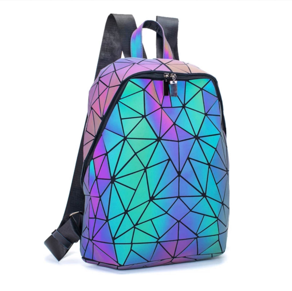 Luminous Holographic Geometry Backpack - The Carly Morgan