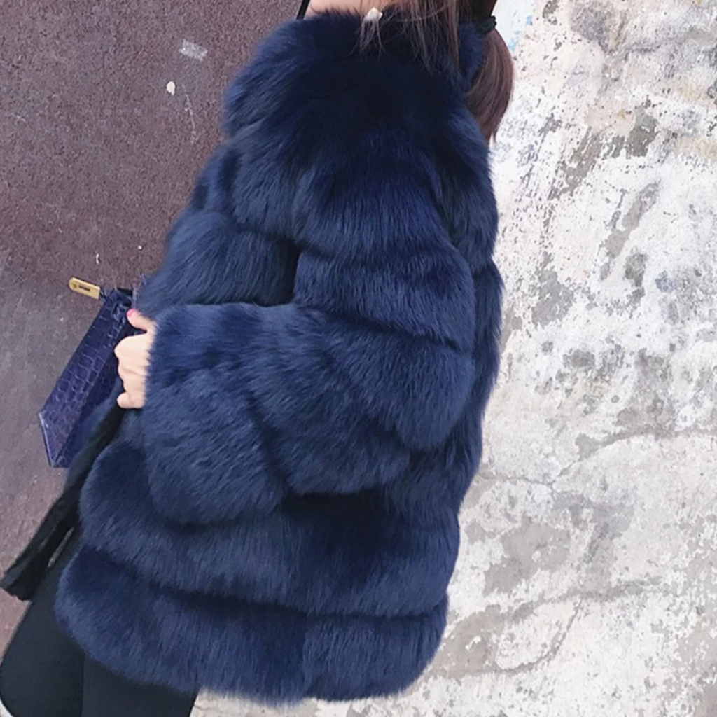 Navy Lush Faux Fox Fur - The Carly Morgan