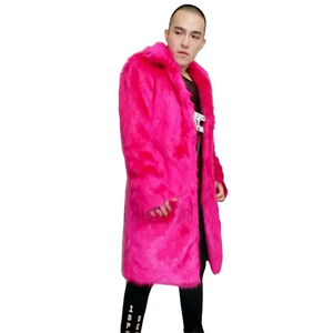 Men's Hot Pink Faux Fur Jacket - The Carly Morgan