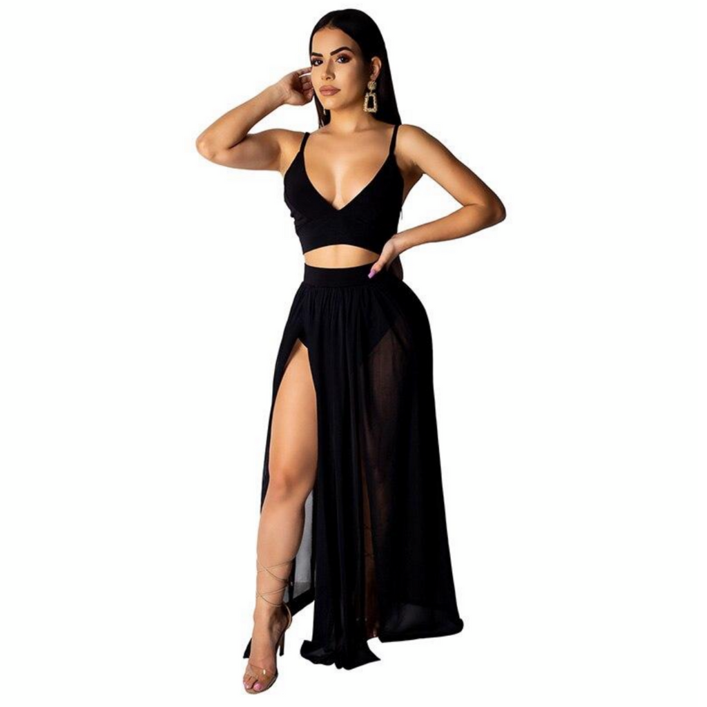 Sexy High Split Chiffon Set - The Carly Morgan