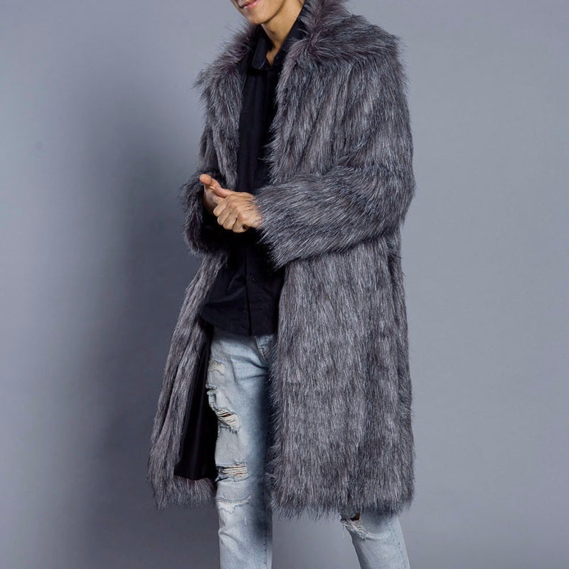 Men's Gray Faux Fur Jacket - The Carly Morgan