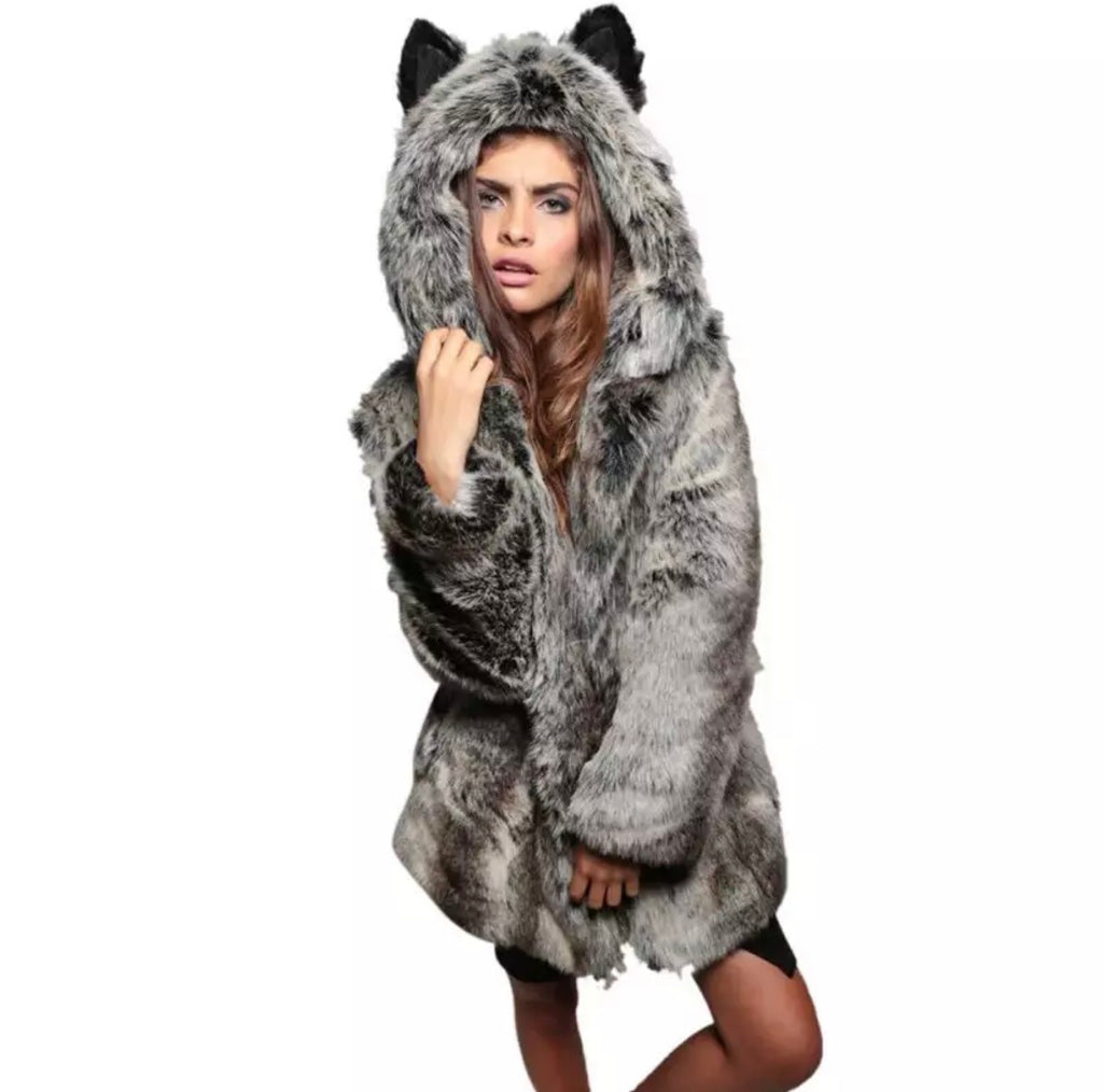 Grey Fox Hooded Fur Jacket - The Carly Morgan