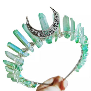 Green Boho Vintage Moon Aura Crown - The Carly Morgan