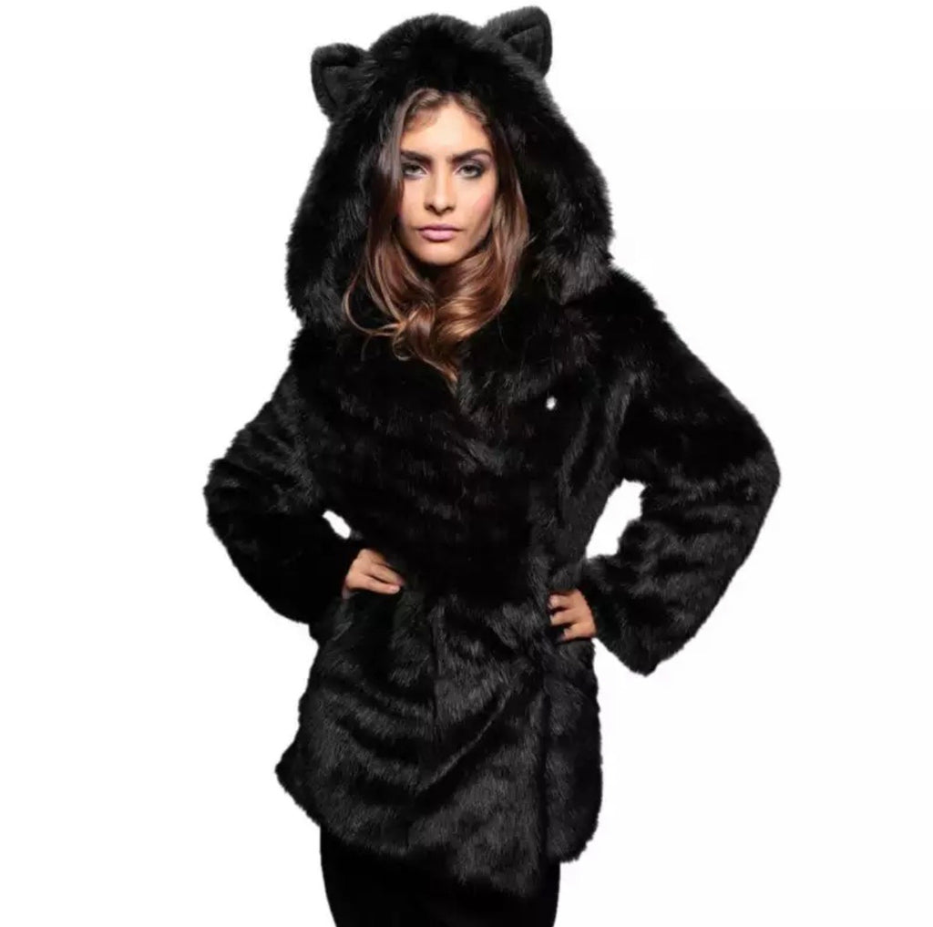 Black Cat Fur Jacket - The Carly Morgan