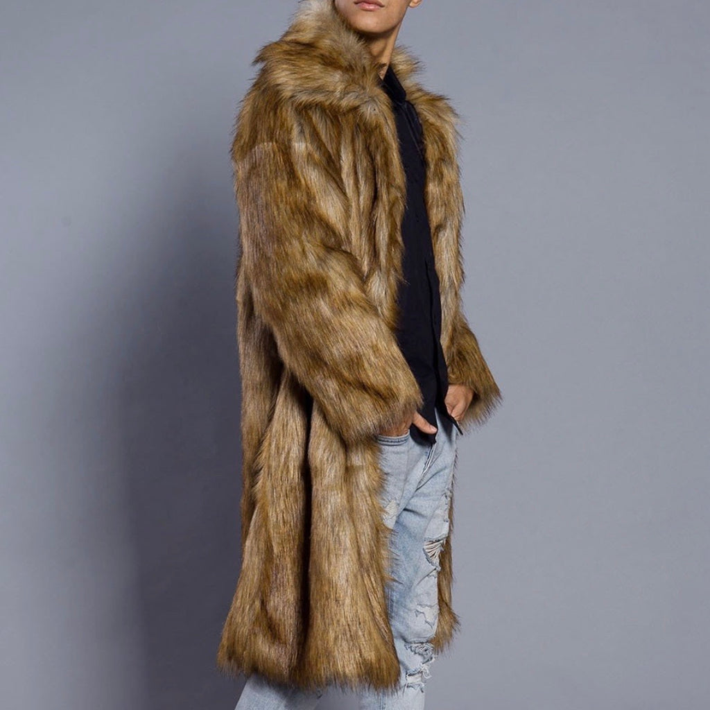 Men's Brown Faux Fur Jacket - The Carly Morgan