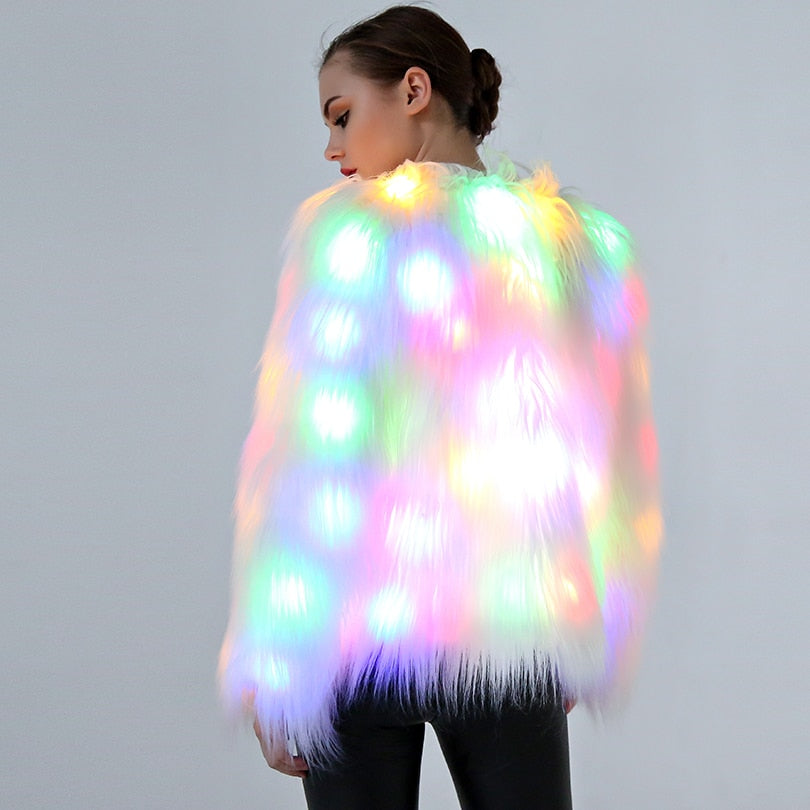 LED Faux Fur Coat - The Carly Morgan