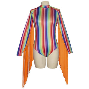 Nightclub Sexy Colorful Striped Tassel Jumpsuit Festival Outfit Rave Clothes Female Adult Singer Dj Bodysuit Stage Wear DN4224 - The Carly Morgan