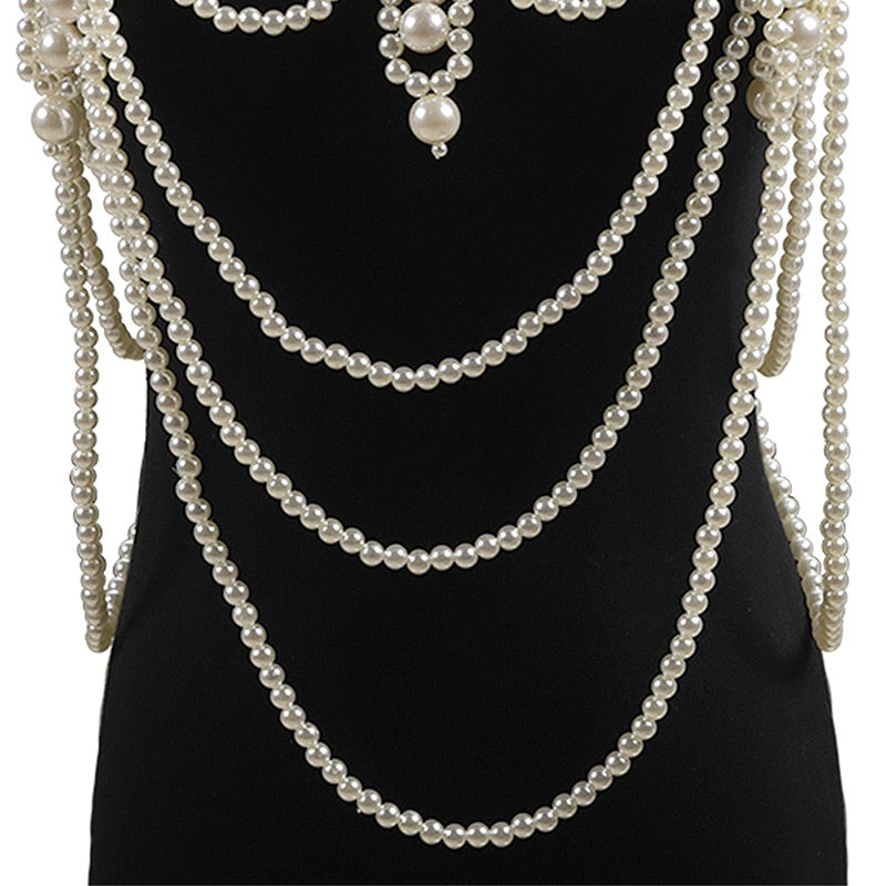 Pearl Chains Jacket Pearl shawl necklace retro luxury handmade beaded string vest sling dress necklace costume - The Carly Morgan