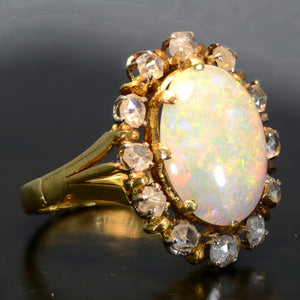 Vintage Estate Ring, 18 carat yellow gold, opal and diamond ring.  Size 5