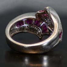 Load image into Gallery viewer, Vintage Estate Ring, 18 carat white gold, diamond and sapphire ring  Size 6.5