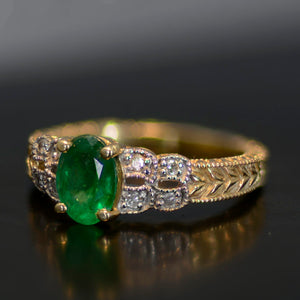 Vintage Estate Ring, Gold and green emerald, size 7