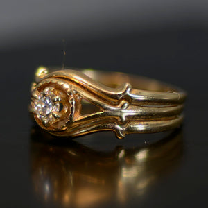 Vintage Estate Ring, Gold and diamond, size 6.75