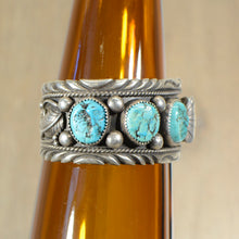 Load image into Gallery viewer, Cuff.  Vintage Silver and turquoise watch band.