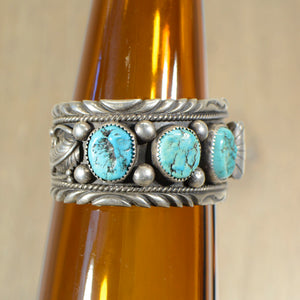 Cuff.  Vintage Silver and turquoise watch band.