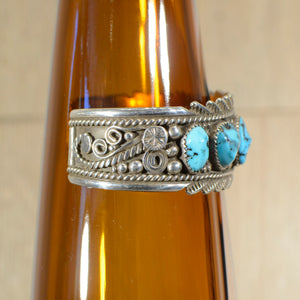 Cuff.  Sterling silver and turquoise cuff.