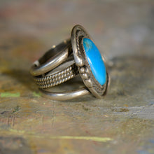 Load image into Gallery viewer, Southwestern style vintage silver and turquoise ring. Size 9.