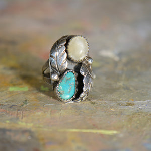 Southwestern style vintage opal and turquoise ring. Size 7.25