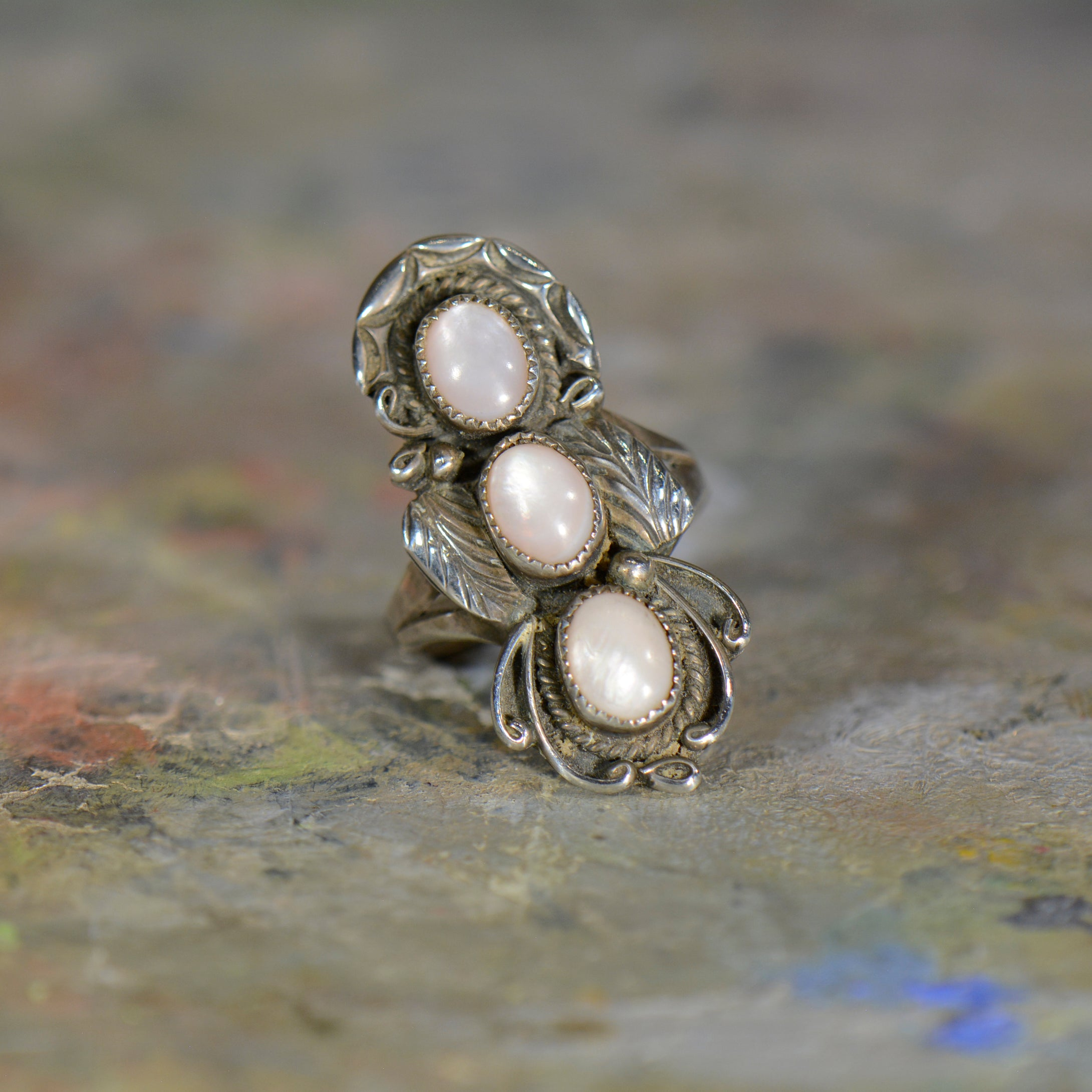 Vintage silver and opal ring. Size 8