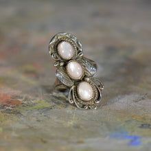 Load image into Gallery viewer, Vintage silver and opal ring. Size 8