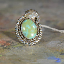 Load image into Gallery viewer, Vintage silver and turquoise ring. Size 11.5