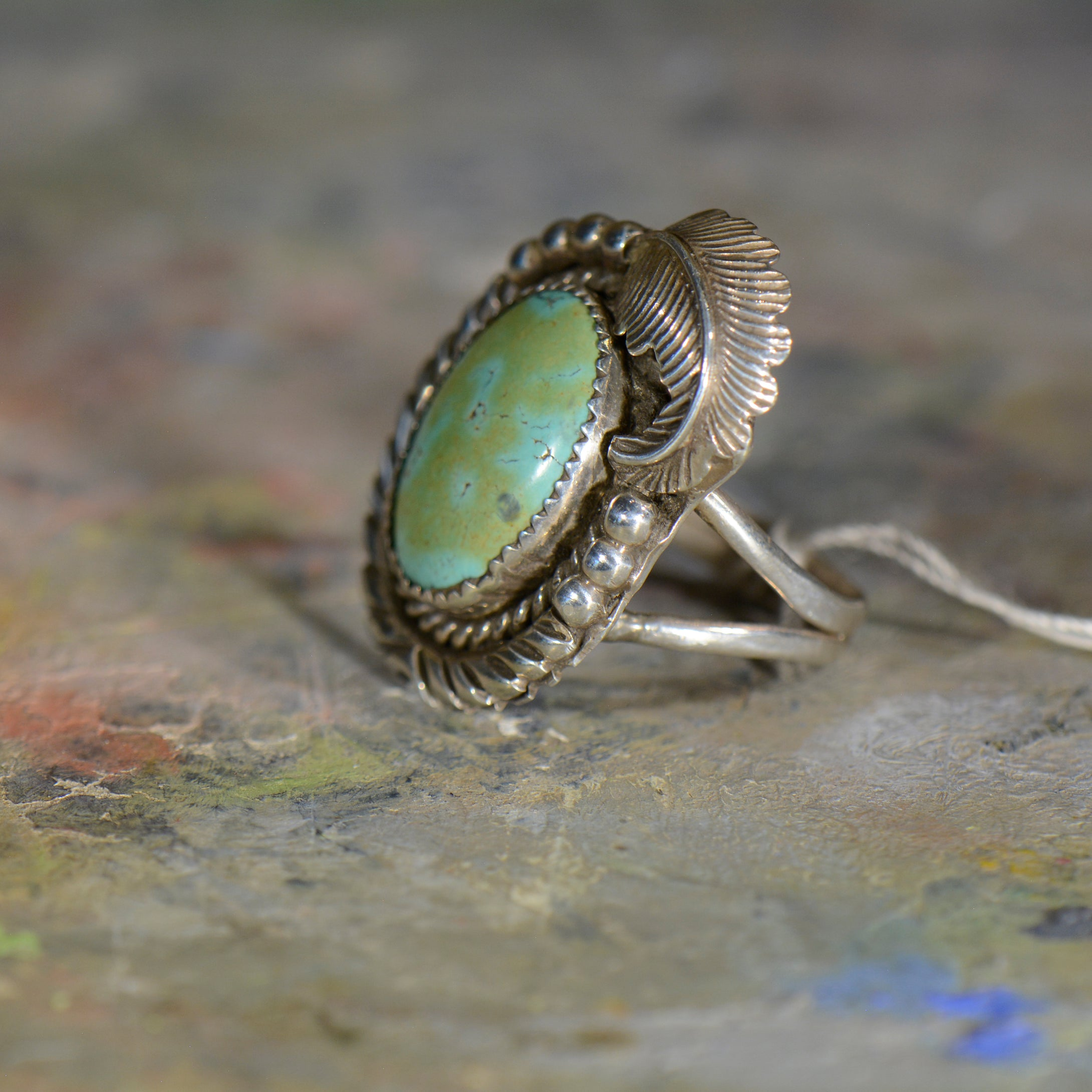 Vintage silver and turquoise ring. Size 11.5